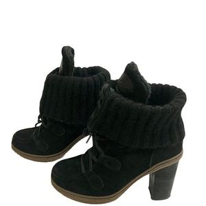 Pajar Suede Lace Up Ankle Black Boot Fold-Over